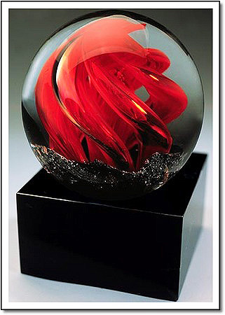 Ruby Flame Art Glass Award