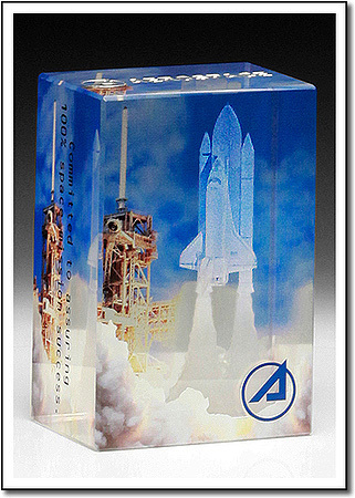 3D Space Shuttle Art Glass Award
